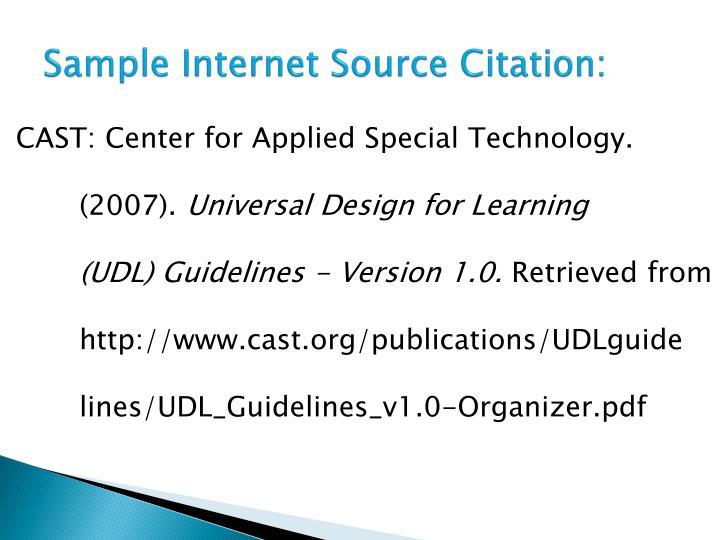 Sample Internet Source Citation: