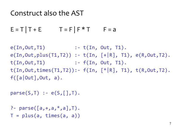 Construct also the AST