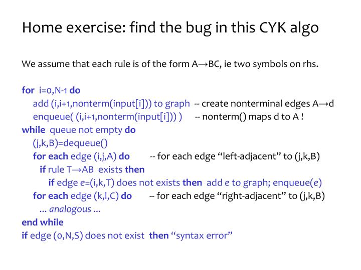 Home exercise: find the bug in this CYK