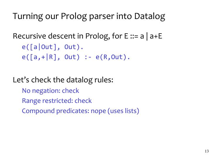 Turning our Prolog parser into