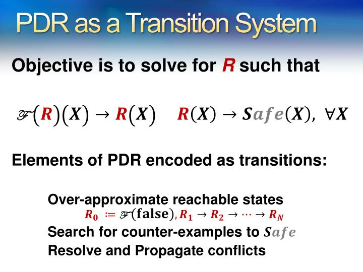 PDR as a Transition System