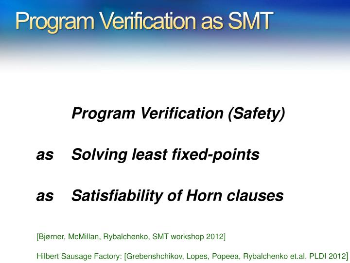 Program Verification as SMT