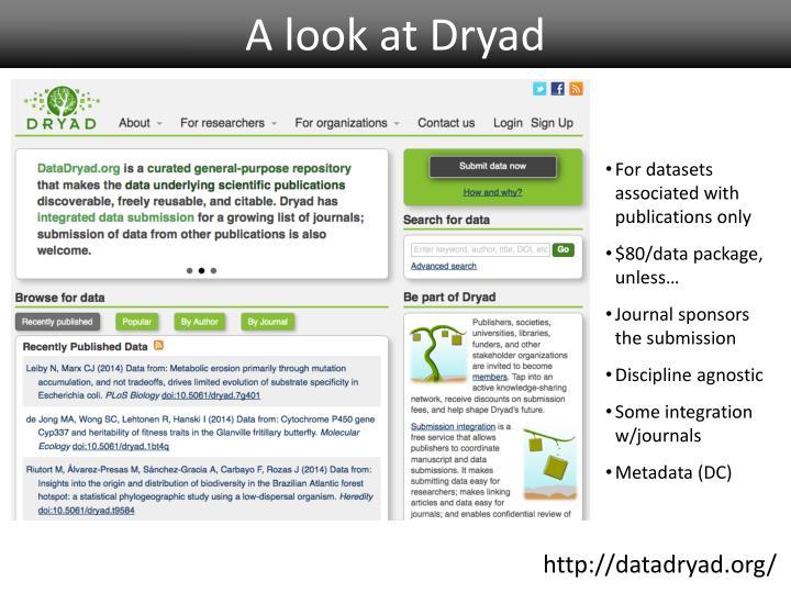 A look at Dryad
