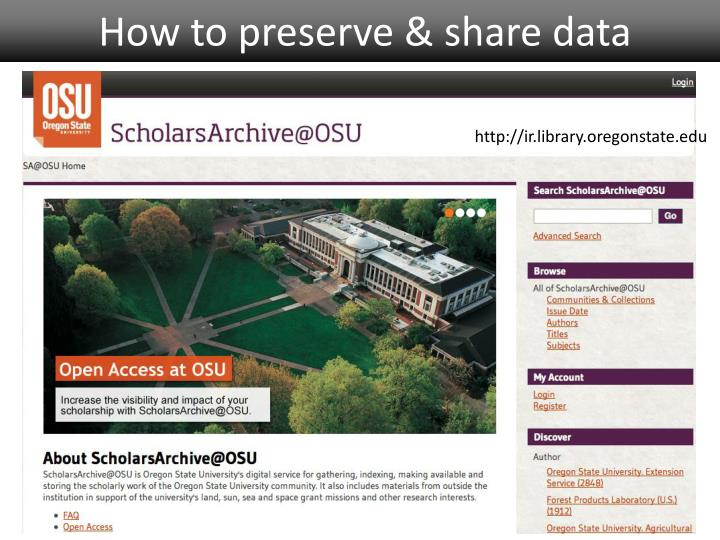 How to preserve & share