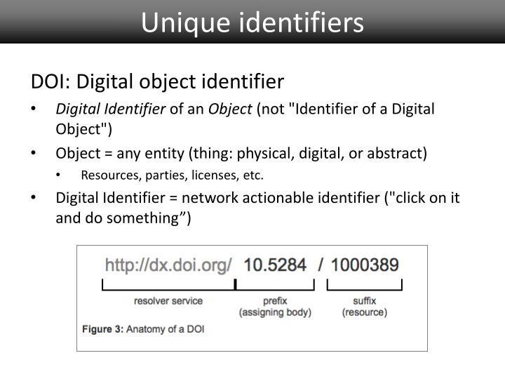 Unique identifiers