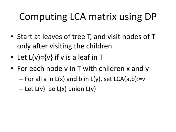 Computing LCA matrix using DP