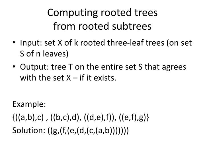 Computing rooted trees