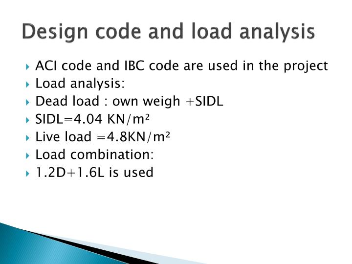 Design code and load analysis