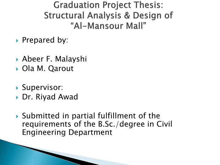Graduation project thesis structural analysis design of al mansour mall