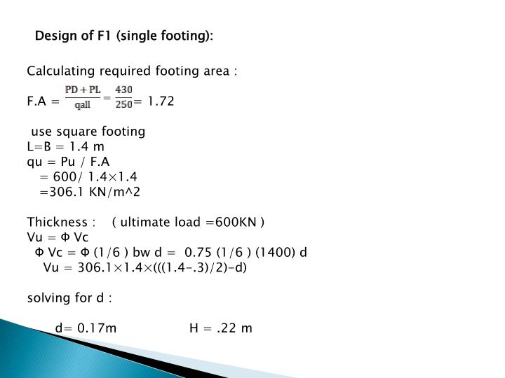 Design of F1 (single footing):