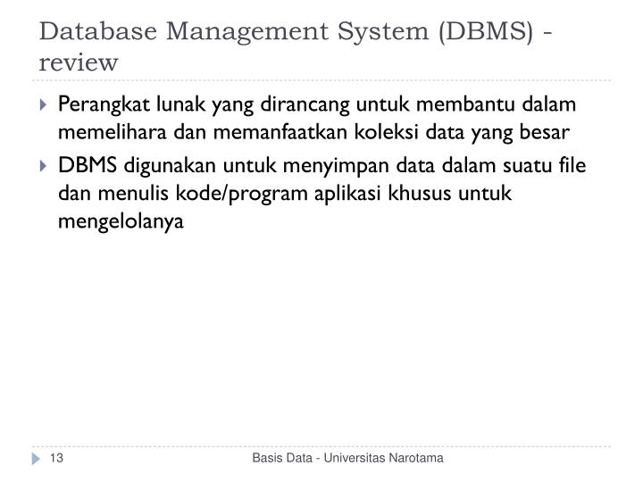 Database Management System (DBMS) - review
