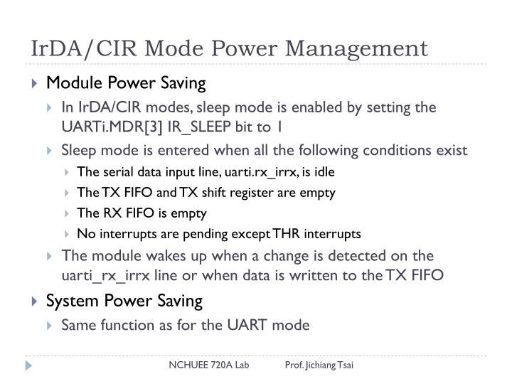 IrDA/CIR Mode Power Management