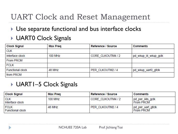 UART Clock and Reset Management