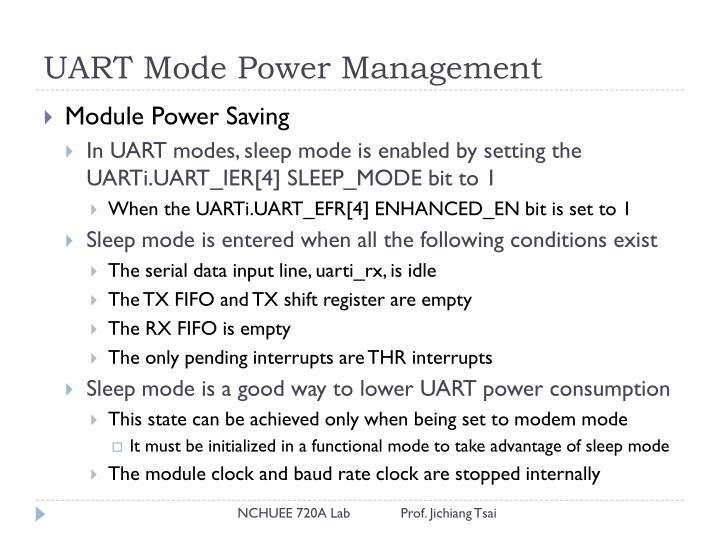 UART Mode Power Management