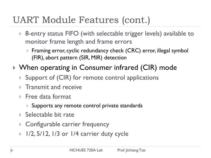 UART Module Features (cont.)