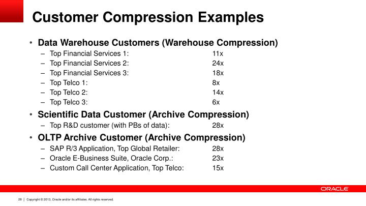 Customer Compression Examples