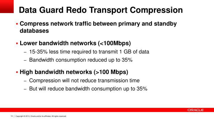 Data Guard Redo Transport Compression