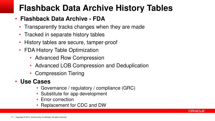 Flashback Data Archive History Tables