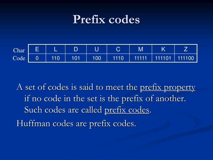 Prefix codes
