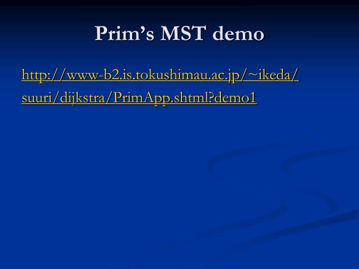 Prim's MST demo