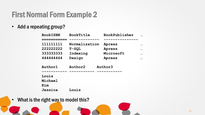 First Normal Form Example 2