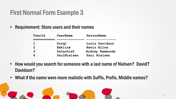 First Normal Form Example 3