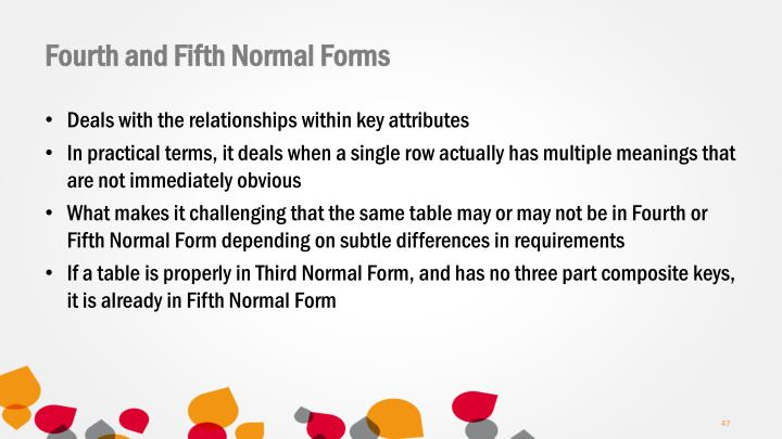 Fourth and Fifth Normal Forms