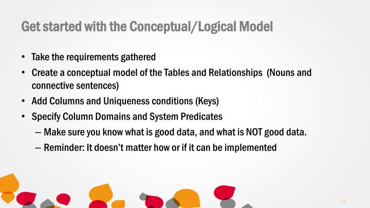 Get started with the Conceptual/Logical Model