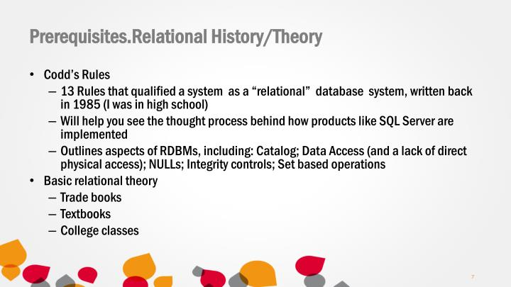 Prerequisites.Relational History/Theory