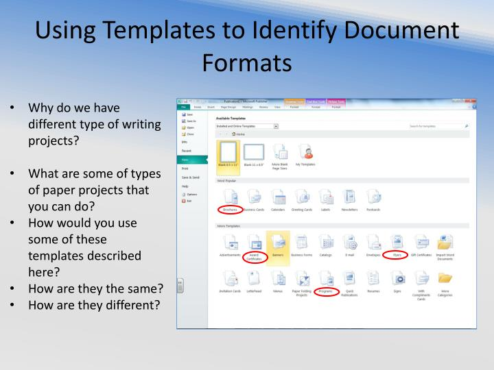 Using Templates to Identify Document Formats