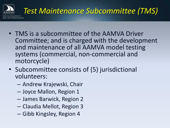 Test Maintenance Subcommittee (TMS)