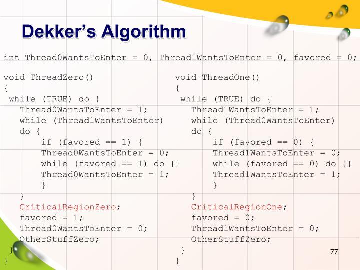 Dekker's Algorithm