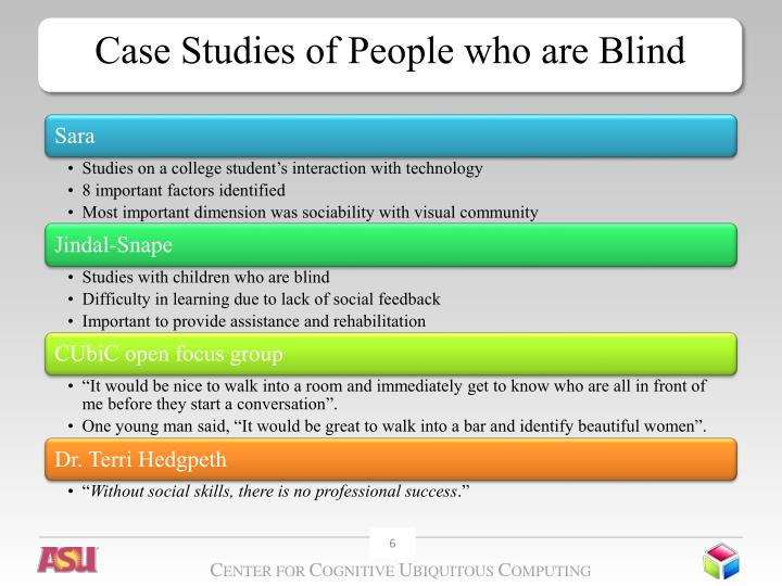Case Studies of People who are Blind