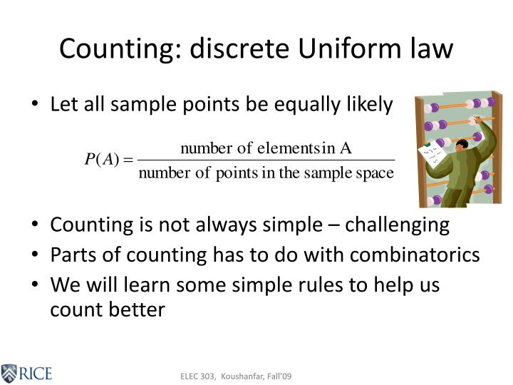 Counting: discrete Uniform law