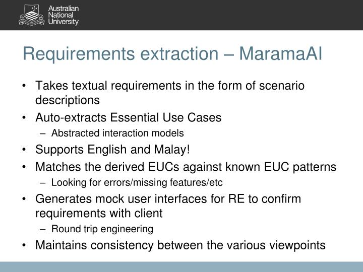 Requirements extraction –