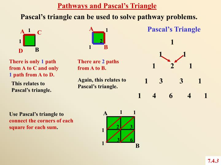 Pathways and Pascal's Triangle