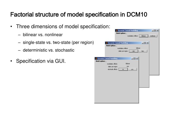 Factorial structure of model specification in DCM10