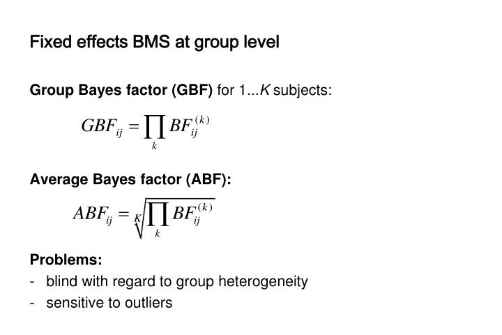 Fixed effects BMS at group level