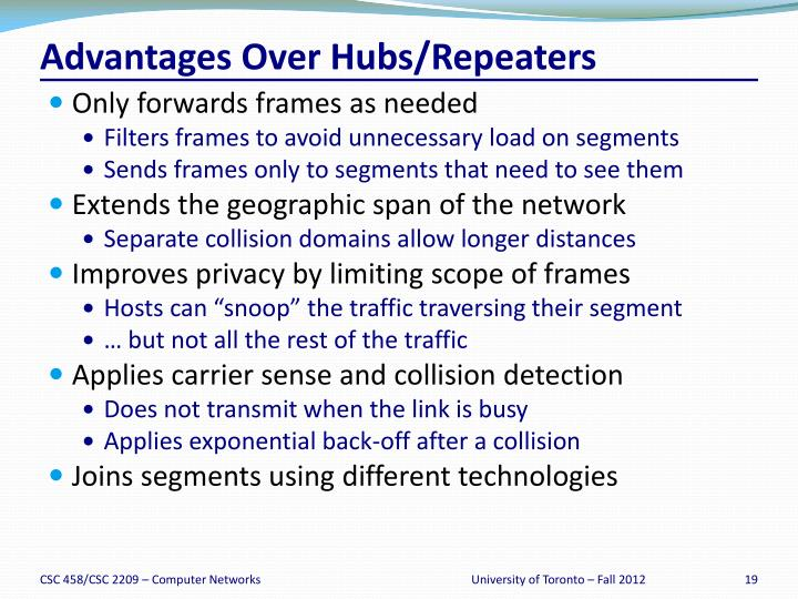 Advantages Over Hubs/Repeaters