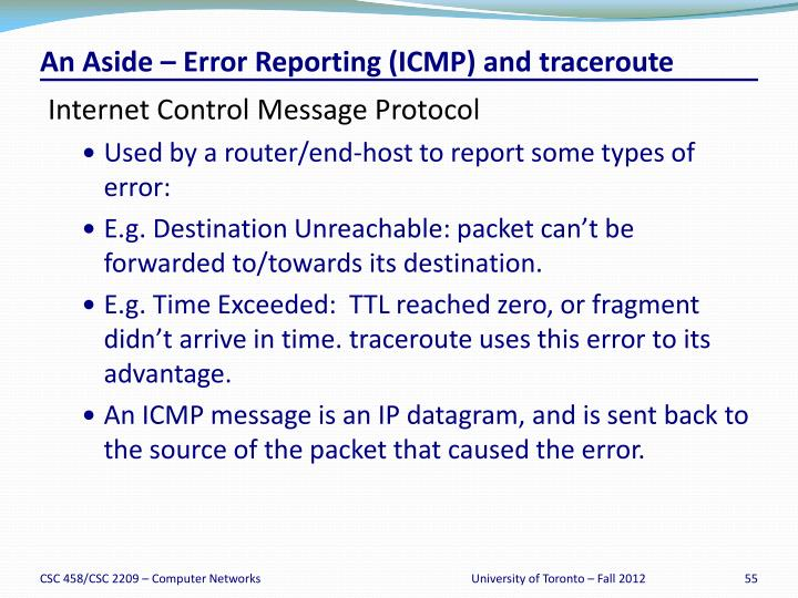 An Aside – Error Reporting (ICMP) and