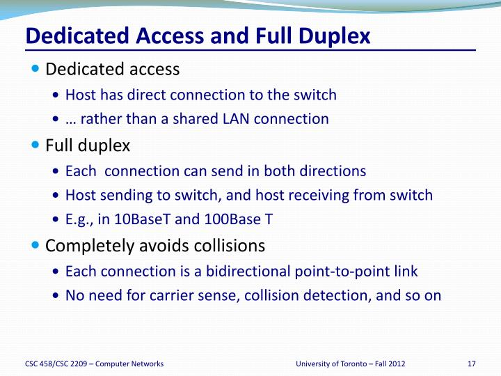 Dedicated Access and Full Duplex