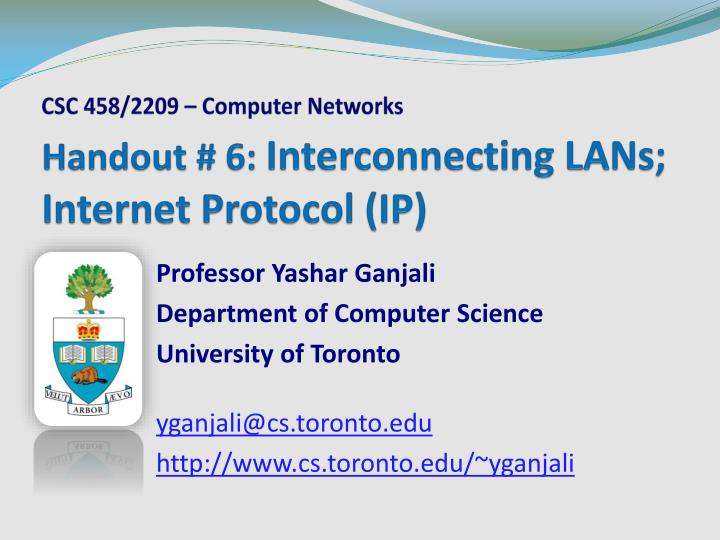 Handout 6 interconnecting lans internet protocol ip