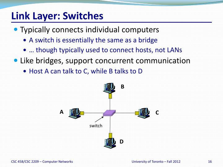 Link Layer: Switches