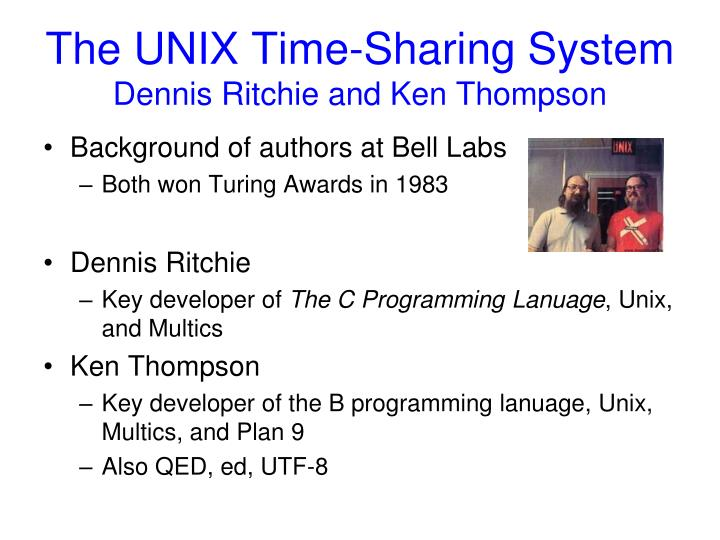 The unix time sharing system dennis ritchie and ken thompson