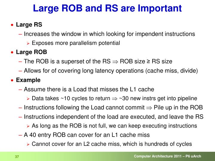 Large ROB and RS are Important