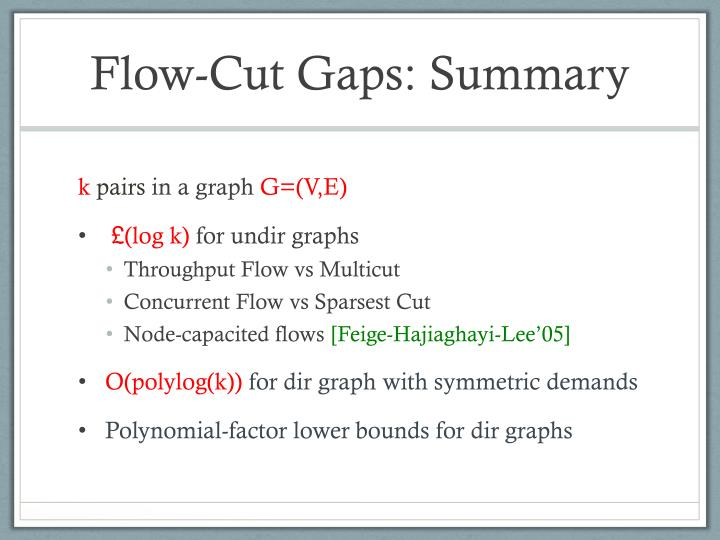 Flow-Cut Gaps: Summary