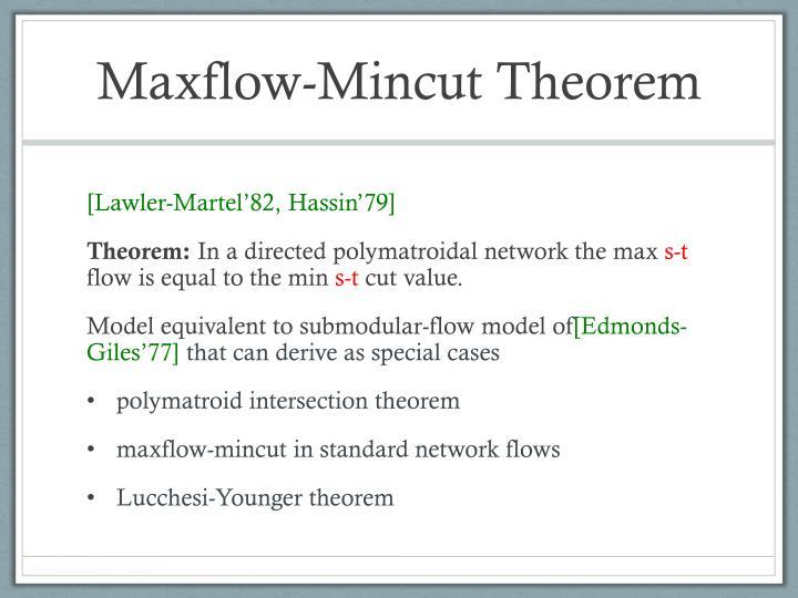 Maxflow-Mincut