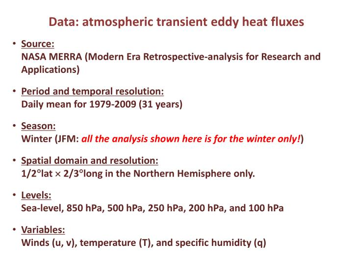 Data: atmospheric transient eddy heat fluxes