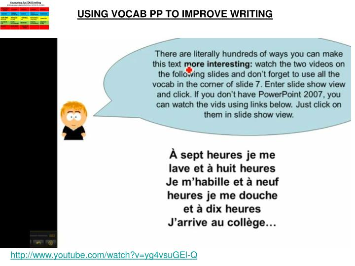 USING VOCAB PP TO IMPROVE WRITING