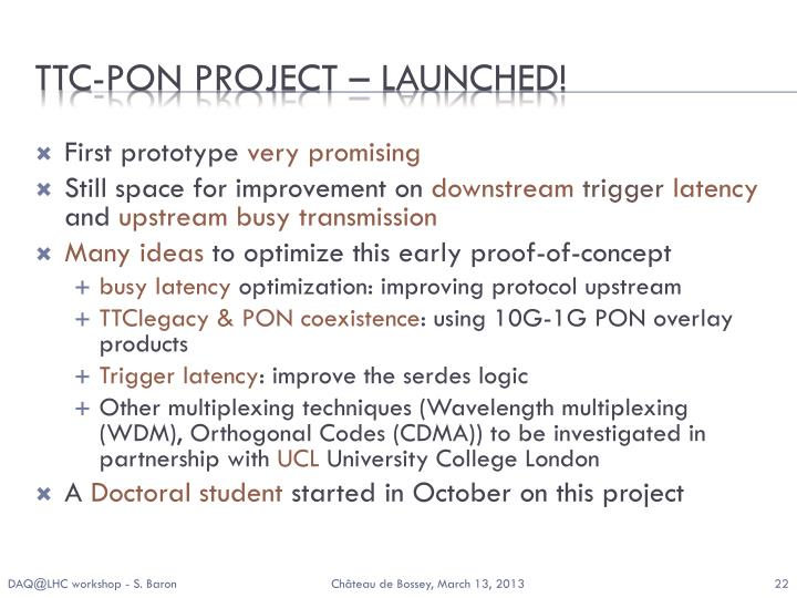 TTC-PON Project – LAUNCHED!